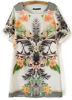 White Short Sleeve Floral Geometric Print Dress 20.83