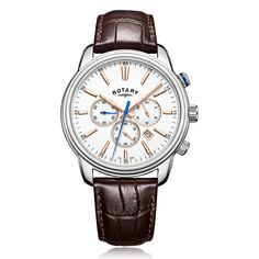 Rotary Monaco Mens Chronograph Watch with Brown Strap Sport Watches, Watches For Men, Rotary Watches, Mechanical Pocket Watch, Moise, Shops, Stylish Watches, Silver Man, Modern Man