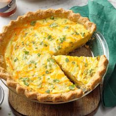 This fluffy quiche is made with cottage cheese and lots of Monterey Jack cheese.  Don't let the chilies scar you. It adds a nice contrast.