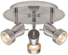 3-Light Halogen Brushed Nickel Semi-Flush Mount Directional Spot Light Fixture #HamptonBay #CanopySpotlight