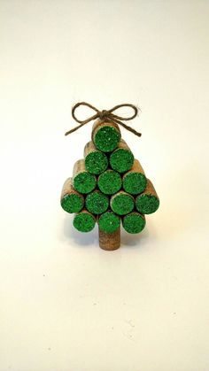 Wine Cork Christmas Tree Ornament by HappyHeartHomeDecor on Etsy