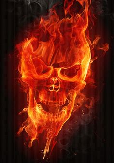 Flaming skull...this would make a cool tattoo