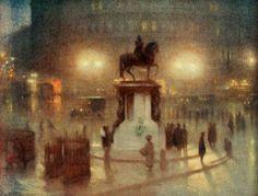 Trafalgar Square - by  Arthur Hacker (1919). #PaintedLondon