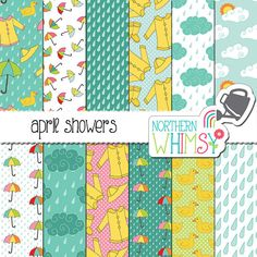 "Rainy Weather Digital Paper - ""April Showers"" - Spring Scrapbook Paper with rain, cloud, umbrella, & raincoat patterns - commercial use OK"