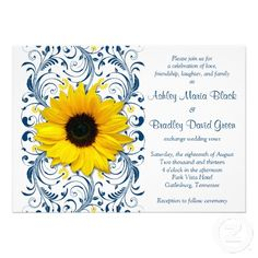 Yellow sunflower, navy blue and white floral customizable wedding invitation. You can personalize the text. #weddings #sunflowers #invitations