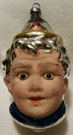Blown Glass Clown Head Face German Christmas Ornament Applied Glass Eyes.