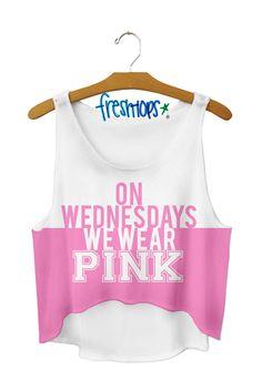 On Wednesdays we Wear Pink Crop Top (Mean Girls quote.)