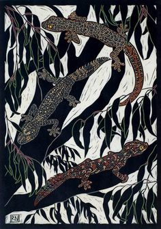 GECKOS 49 X 35.5 CM    EDITION OF 50 HAND COLOURED LINOCUT ON HANDMADE JAPANESE PAPER $850