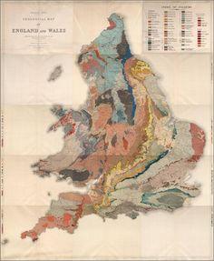Une magnifique carte géologique d'Angleterre et Pays de Galles du 1896. Via Vivid Maps http://www.vividmaps.com/2016/03/geological-map-of-england-and-wales-1896.html