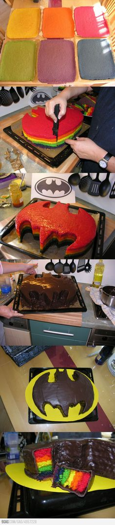 Rainbow-Colored-Batman-Cake! Could do this with any shape!