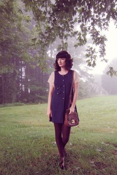 Love this, October! Navy pinafore, #AmericanApparel lace tee, thrifted satchel and brogues