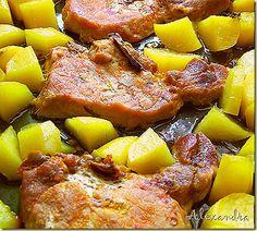 Χρυσές πατατούλες με μπριζόλες στο φούρνο