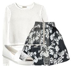"""""""414.White With A Pop Of Black"""" by theofficialfashiondreamer on Polyvore featuring Alice + Olivia, Rebecca Taylor, Miu Miu, women's clothing, women's fashion, women, female, woman, misses and juniors"""