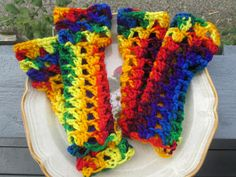 Bright Colors Crocheted Acrylic Fingerless Gloves by SuzannesStitches, Girls Fingerless Gloves, Steampunk Gloves, Wrist Warmers, Teen Gloves by SuzannesStitches on Etsy
