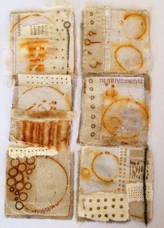 Julia Wright, rust dyed fabric collages by nikki Shibori, Art Textile, Textile Artists, Textile Dyeing, How To Dye Fabric, Fabric Art, Impression Textile, Motifs Textiles, Tea Bag Art