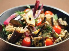 Bobby's Farro Salad with Grilled Eggplant, Tomatoes and Onions is hearty enough to be a vegetarian main dish.
