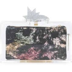 Charlotte Olympia 'Planetarium Pandora' clutch (73.610 RUB) ❤ liked on Polyvore featuring bags, handbags, clutches, grey, star purse, metallic purse, gray handbags, metallic handbags and silver metallic handbags