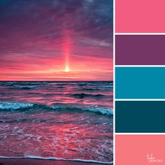 sunset colors Color inspiration from ocean - sunset Sunset Color Palette, Sunset Colors, Purple Colors, Pink Blue, Purple Palette, Ocean Colors, Color Schemes Colour Palettes, Colour Pallette, Purple Color Schemes