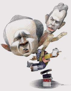 George Bush and Tony Blair by Temes