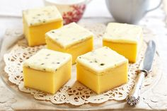Old-fashioned vanilla slice: - - - Satisfy your sweet tooth with this passionfruit, vanilla slice.