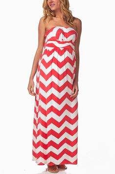 Pink-White-Chevron-Maternity-Maxi-Dress #maternity #fashion... I want this in  short style!