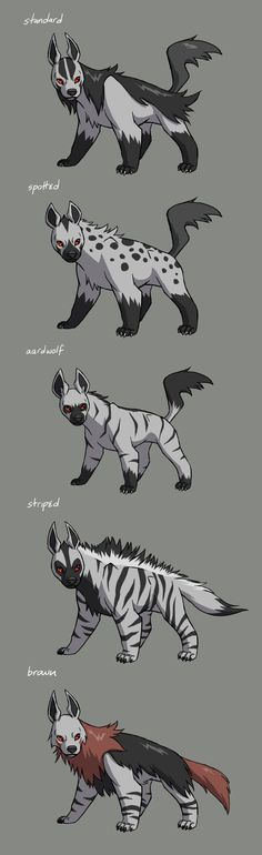 Mightyena BreedsI decided to jump on the Pokemon variations bandwagon (cause it's AWESOME) and draw up some Mightyena breeds, based on the different types of real life hyenas.