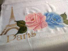 PANO DE PRATO com Rosas e stencil  Paris!!!! Molde de Rosas da Ana Laura!!!