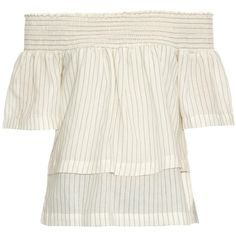 Bliss and Mischief Off-the-shoulder pinstripe linen blouse ($333) ❤ liked on Polyvore featuring tops, blouses, white summer tops, vintage white blouse, off shoulder blouse, off-the-shoulder tops and white linen blouse