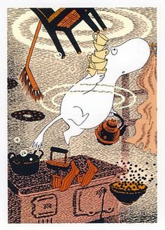 Moomin postcard MOOMINTROLL DIVING FOR COFFEE SET/orange