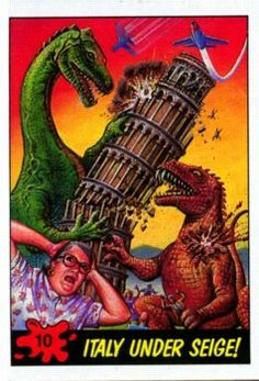 Dinosaurs Attack! was a series of trading cards from the 80s that were done in the manic style of the famous Mars Attacks! series they are brutal and fantastic. Check out the entire run!