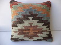 "KİLİM PİLLOW,16""x16"" inch Anatolian Vintage Zigzag Pattern Kilim Rug Pillow Cover,Handwoven Turkish Kilim Pillow Cover."