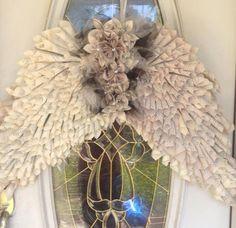ANGEL WINGS Vintage Paper Cone Book Page Wreath by KefsReLove, $105.00