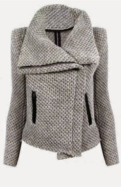 Turn-Down Collar Mesh Knitted Coat