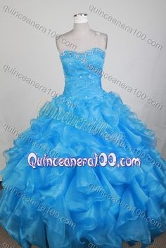 Exclusive Ball Gown Sweetheart Beading and Ruffles Quinceanera Dress in Teal