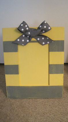 Hand Painted Yellow and Gray Picture Frame, on Etsy