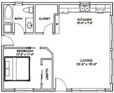 Cabin Plans, Shed Plans, 1 Bedroom House Plans, 20x30 House Plans, Plan Garage, Small House Floor Plans, Simple Floor Plans, Primitive Homes, Garage Apartments