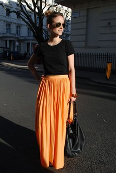 Orange maxi-skirt... Want to get my hands on this ..So beautiful!