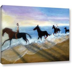 Lindsey Janich Horses On The Beach Painting Gallery-Wrapped Canvas, Size: 14 x 18, Brown