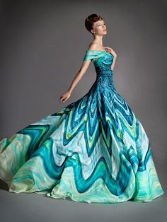 Off-the-shoulder boldly printed gown in all hues of blues!!! ~ Blanka Matragi 2012 Haute Couture Spring Summer Evening Gowns Collection