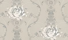 Cha Cha Cha (PT005) - Nono Wallpapers - A luxurious floral trail with large white flower heads showing in dazzle grey with a shimmering silver background, more colours available. Please request a sample for true colour match. Paste-the-wall products.