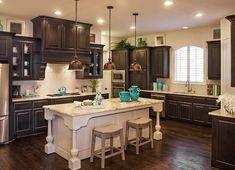Highland Homes Top Custom Home Builder Texas Austin Dallas-Fort Worth Houston San Antonio Rustic Kitchen, Kitchen Decor, Kitchen Design, Kitchen Tile, Kitchen Ideas, Texas Kitchen, Warm Kitchen, Kitchen Colors, Kitchen Island