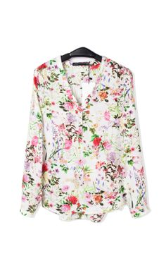 V-neck Long Sleeves Chiffon Floral Blouse