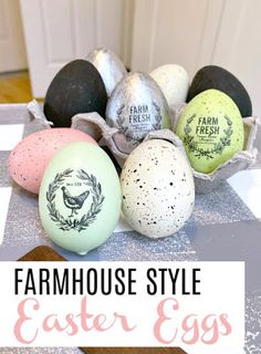 How to Add Farmhouse Detail to Easter Eggs in a minute! Homeroad.net How to Add Farmhouse Detail to Easter Eggs in a minute! Homeroad.net #eastereggs #easter #diyproject #Easterproject #transfer #transfermethod #Spring
