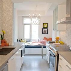 1000 images about galley kitchen on pinterest white for Small kitchen eating area ideas
