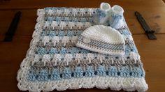baby boy blanket crochet stripe crochet by DonnasPinsandNeedles