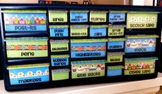 Teacher Toolbox -- storage box from Lowes and personalized with printed labels and embellishments