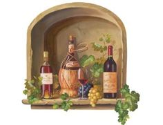 Wine Alcove With Grapes & Vines Bottles Red Wall Mural Sticker Decal Instant Windows Wallpaper, Most Beautiful Wallpaper, Photo Images, Wine Decor, Wine Art, Red Walls, Faux Walls, Grape Vines, Wall Murals