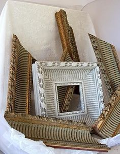 DIY Idea:  Turn Extra Moulding into A Shabby Chic Frame   — Details in the Decor   --Shared by WhatnotGems.Etsy.com Shop Etsy!