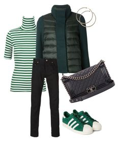 """""""Green"""" by trendsy ❤ liked on Polyvore featuring Moncler, Chanel, Yves Saint Laurent and adidas Originals"""