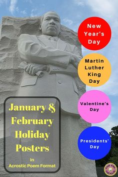 These easy-to-assemble posters teach students about the origins & customs of New Year's Day, Martin Luther King Day, Valentine's Day & Presidents' Day. Written as acrostic poems, the posters are great for teaching about the cultural traditions of the holidays & they are also great models when teaching a poetry unit. Writing & grammar activities plus 5 suggestions for orally discussing the holidays are included, too. Great for all students, including ELLs at lower levels of language…